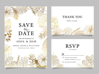 wedding invitation card with  flower Templates