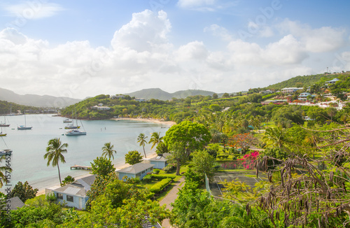 Photo Antigua, Caribbean islands,  English harbour view with Freeman's bay and yachts