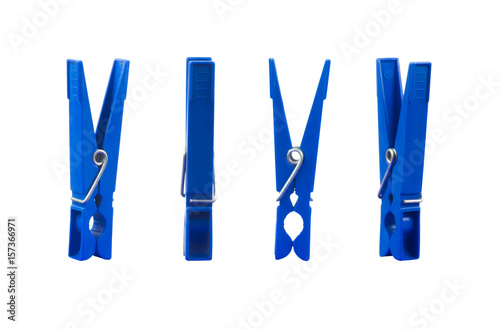 Fotografía Blue clothespin from different sides isolated on white background