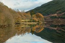 A Very Calm Autumn Day At Loch Voil, Near Balquhidder In The Loch Lomond And Trossachs National Park, Scotland.