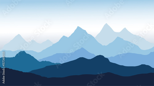 Fototapeta panoramic view of the mountain landscape with fog in the valley below with the alpen glow blue sky - vector obraz
