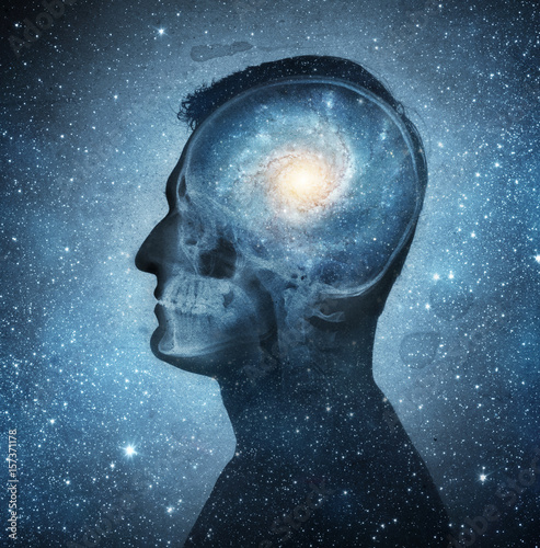 The universe within. Silhouette of a man inside the universe. The concept on scientific and philosophical topics. Elements of this image furnished by NASA