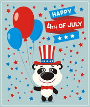 Happy 4th Of July! Funny Panda Bear With Balloons For Independence Day USA.