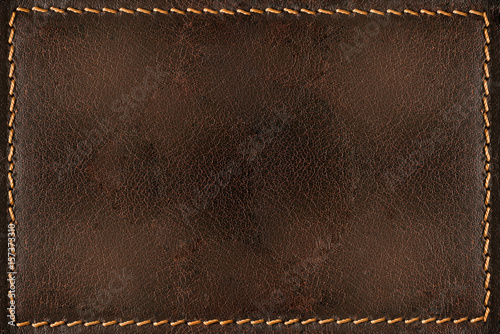Fotografie, Obraz  Brown leather background with seams