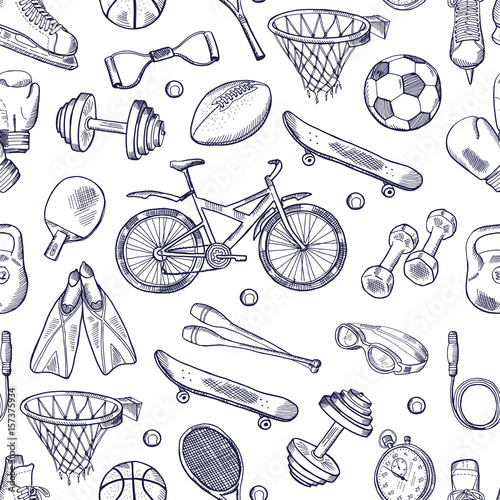vector-doodles-hand-drawn-seamless-pattern-of-different-sport-accessories