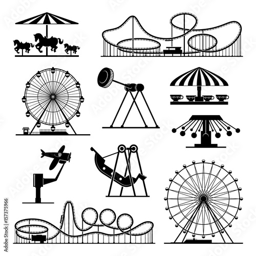 Vector icons of different attractions in amusement park Canvas Print