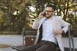 Young businessman having phone call