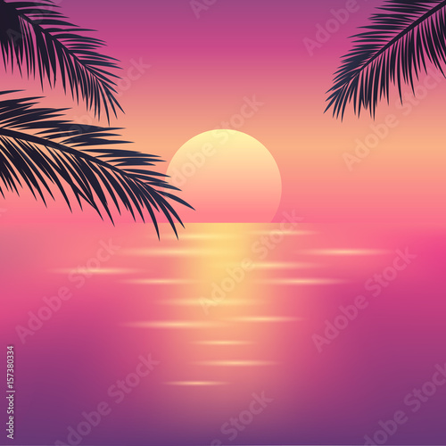 Poster Corail Tropical sunset on the ocean