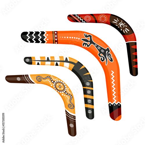 Set of painted traditional australian boomerang tools vector illustration Wallpaper Mural