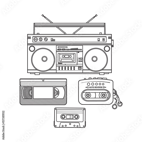 Valokuva  Retro style audio cassette, tape recorder, music player and videotape from 90s, sketch illustration isolated on white background