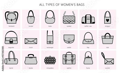 TYPES OF WOMEN'S BAGS Fototapeta