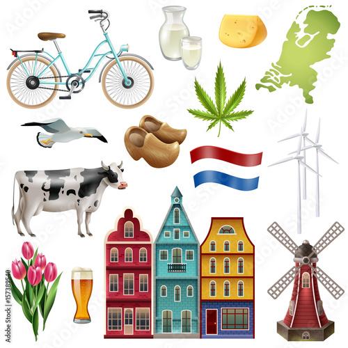 Holland Netherlands Travel Icon Set Canvas Print