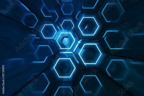 obraz lub plakat Abstract blue of futuristic surface hexagon pattern, hexagonal honeycomb with light rays, 3D Rendering