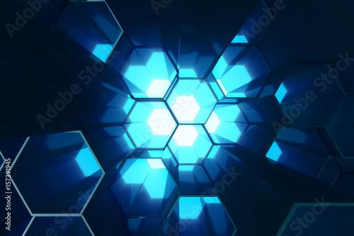fototapeta na ścianę Abstract blue of futuristic surface hexagon pattern, hexagonal honeycomb with light rays, 3D Rendering