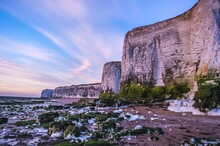 Just Before The Sunrise At Botany Bay In Kent, England.