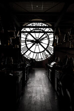 Inside Orsay Museum And There Is A Big Clock Two People Stand Beside The Clock