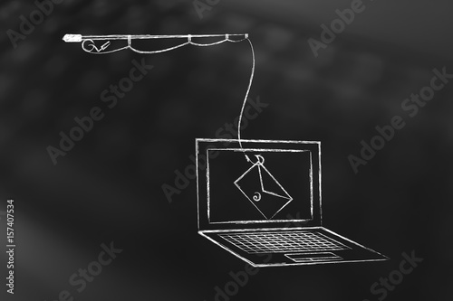 Fotografía  phishing threat on laptop screen, fishing rod with email instead of bait