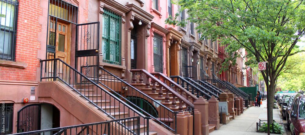 Fototapety, obrazy: Brownstones à Harlem (New York - USA)