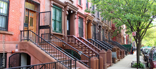 Cadres-photo bureau New York City Brownstones à Harlem (New York - USA)