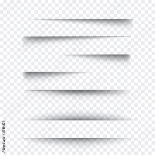 Obraz Transparent realistic paper shadow effect set. Web banner. Element for advertising and promotional message isolated on background. Vector illustration for your design, template and site. - fototapety do salonu