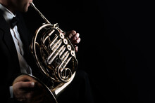 French Horn Instrument. Player...