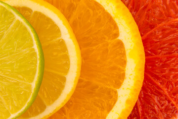 FototapetaFour slices of citrus fruits, closeup background.
