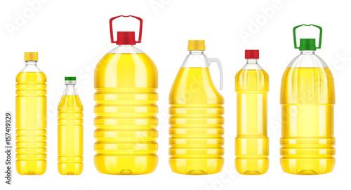 Fototapeta Vegetable oil plastic bottle isolated on white background. Vector packaging mockup with realistic bottle obraz