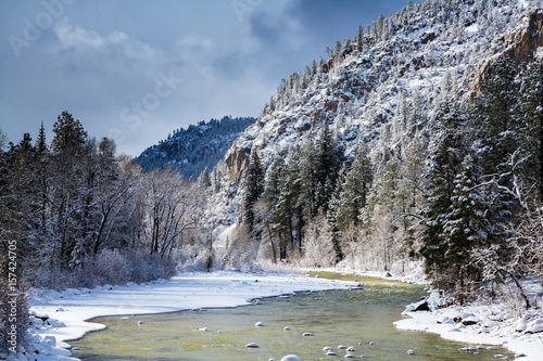 Fotografie, Obraz  Winter on the Animas River in Colorado
