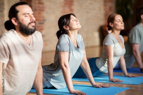 Poster Ecole de Yoga group of people doing yoga dog pose at studio