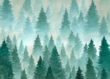 Hand drawn watercolor illustration. Landscape of cloudy, mystic , coniferous forest on ye mountaind. Cloud, fog, trees, cold, winter - 157428307