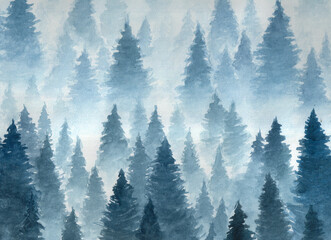Fototapeta Zima Hand drawn watercolor illustration. Landscape of cloudy, mystic , coniferous forest on ye mountaind. Cloud, fog, trees, cold, winter