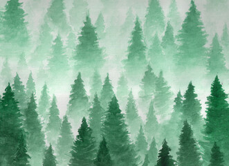 Obraz Hand drawn watercolor illustration. Landscape of cloudy, mystic , coniferous forest on ye mountaind. Cloud, fog, trees, cold, winter