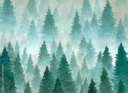 Poster de jardin Aquarelle la Nature Hand drawn watercolor illustration. Landscape of cloudy, mystic , coniferous forest on ye mountaind. Cloud, fog, trees, cold, winter