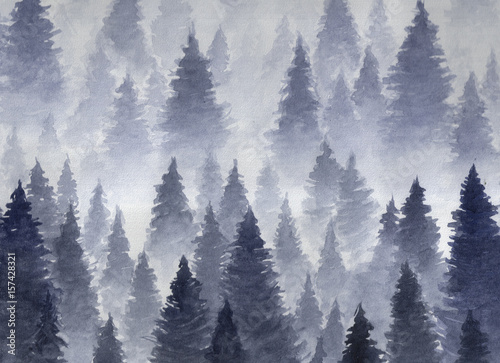 Fototapety, obrazy: Hand drawn watercolor illustration. Landscape of cloudy, mystic , coniferous forest on ye mountaind. Cloud, fog, trees, cold, winter