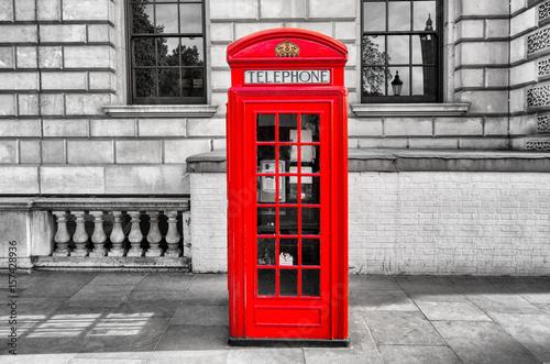 Fotografie, Obraz  red phone box booth in great britain