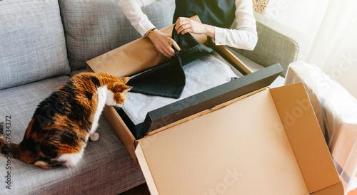 Plakat Kot i kobieta rozpakowują rozpakowywanie nowej paczki zawierającej modne ubrania