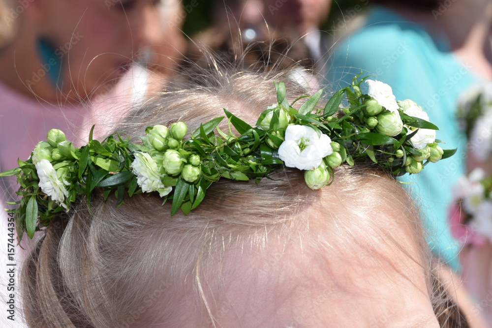 Poster Foto Wreath Of Flowers On The First Holy Communion Koop Op