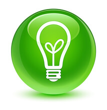 Bulb Icon Glassy Green Round Button