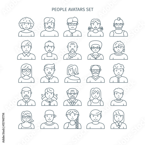 Thin Line Icons Set Of People Avatars Different Age Man And Woman Characters Use