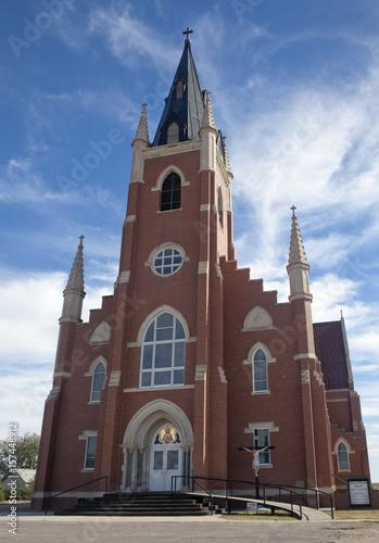 Fotografie, Obraz  Gothic style Catholic Church in Park, Kansas, US, 2016.