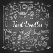 Hand Drawn Food Doodles, Line ...