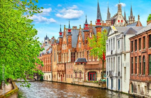 Wall Murals Bridges Medieval town Bruges in Belgium. Panorama and landscape vintage