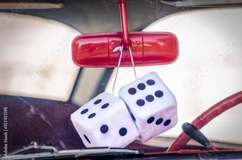 Photo  Vintage car with fuzzy dice