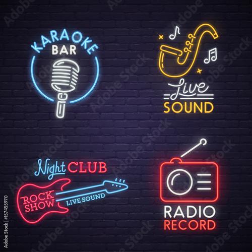 Sound neon sign. Karaoke neon sign. Rock Show neon sign. Radio neon sign, bright signboard, light banner. Logo, label, emblem