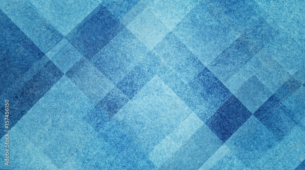 Fototapeta pretty abstract blue background with diamond squares and triangle shapes layered in classy artsy pattern, cool dark and light colors and linen style texture material design
