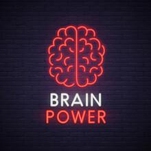 Brain Neon Sign. Neon Sign, Bright Signboard, Light Banner.