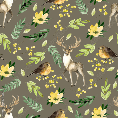 Cotton fabric Seamless brown pattern with deer and birds. Watercolor hand drawn