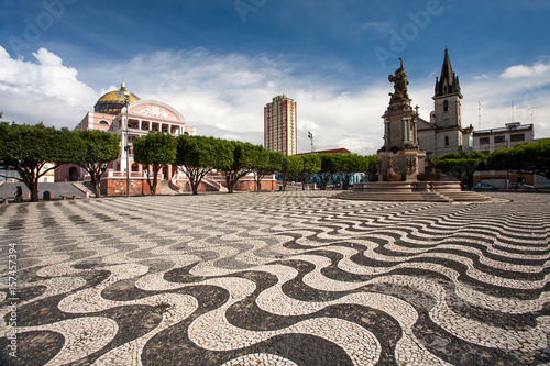 Garden Poster Brazil Manaus city sidewalk with Amazon theatre and church