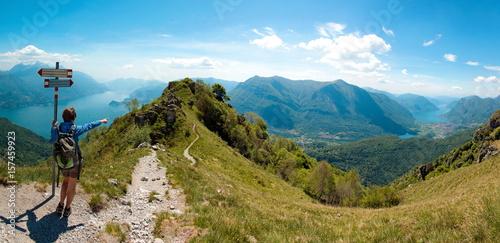 Fotografía  Vista del lago di Como e del lago di Lugano dal pizzo Coppa  - Menaggio - Italy