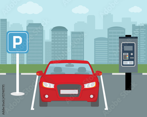 Spoed Foto op Canvas Cartoon cars Parking place with one car and ticket machine . Flat style, vector illustration.